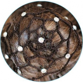 Hair net for chignon with beads