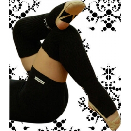 Black long Junior leg warmers with foot
