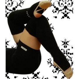 Pastorelli Black long leg warmers with foot